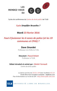 Simplifier Bruxelles _ Fusion des zones de police